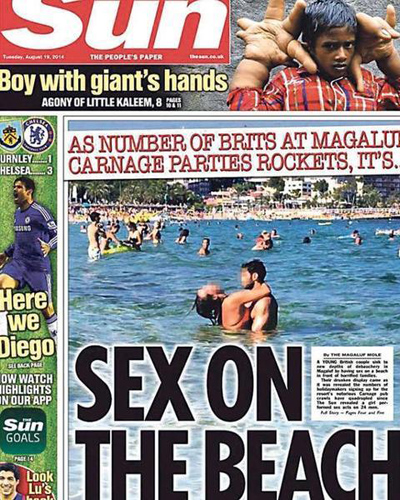 "Portada del tabloide británico ""The Sun""."