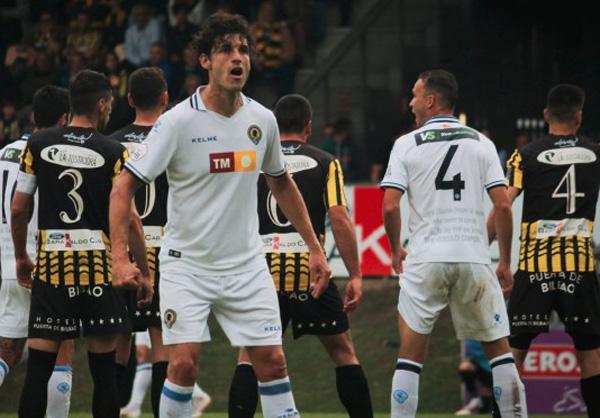 Jugadores del Hércules CF en un momento del encuentro frente al Barakaldo. Foto: HérculesCF