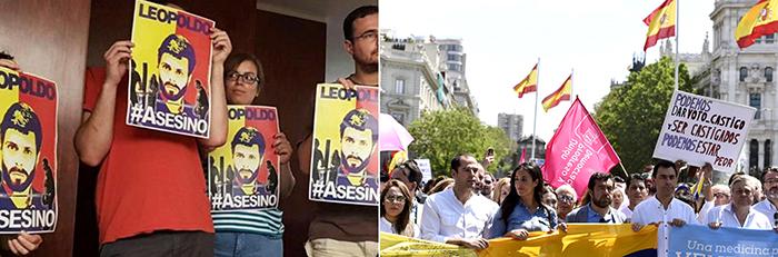 Defensores y retractores del régimen chavista en España.