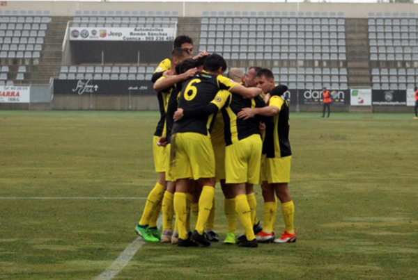 Jugadores del Hércules CF celebran su gol frente al Conquense. Foto: HERCULES CF